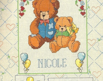 "Card ""Alphabets and teddy bear"" cross stitch Embroidery"