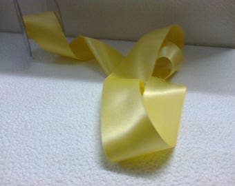 """1 m satin ribbon 10 """"double sided"""" yellow 5cm wide"""
