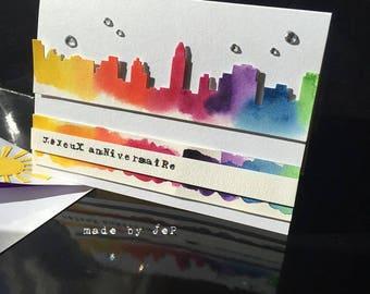 "City watercolor, and rhinestone ""happy birthday"" card"