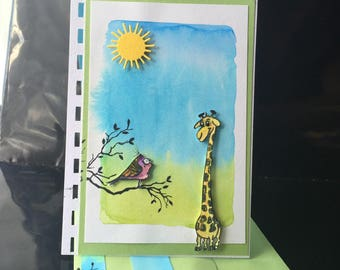 """card """"the giraffe and bird"""" watercolor background..."""