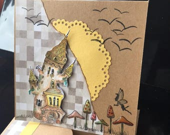 fairytale Castle greetings card.