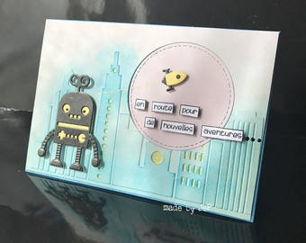"card ""en route to new adventures""... robot and rocket!"