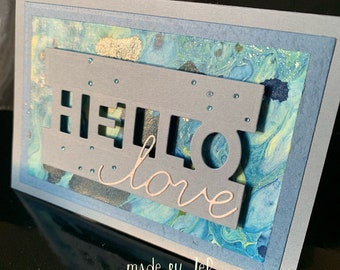 """colorful and romantic card """"hello love"""" ... Unique model!"""