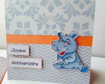 "Hippo ""happy birthday"" card unique"