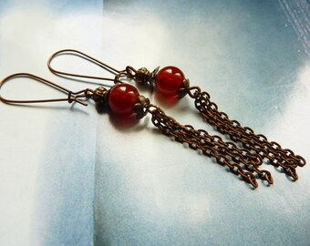 Ethnic earrings red agate bead and chains copper