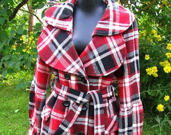 Vintage clothing/ Woman coat/Vintage Woman Coat/ Women'a Outwear/ Plaid Coat/Goth style Coat/Sweet Lolita Coat/ 20% Wool Coat/Girl Coat/