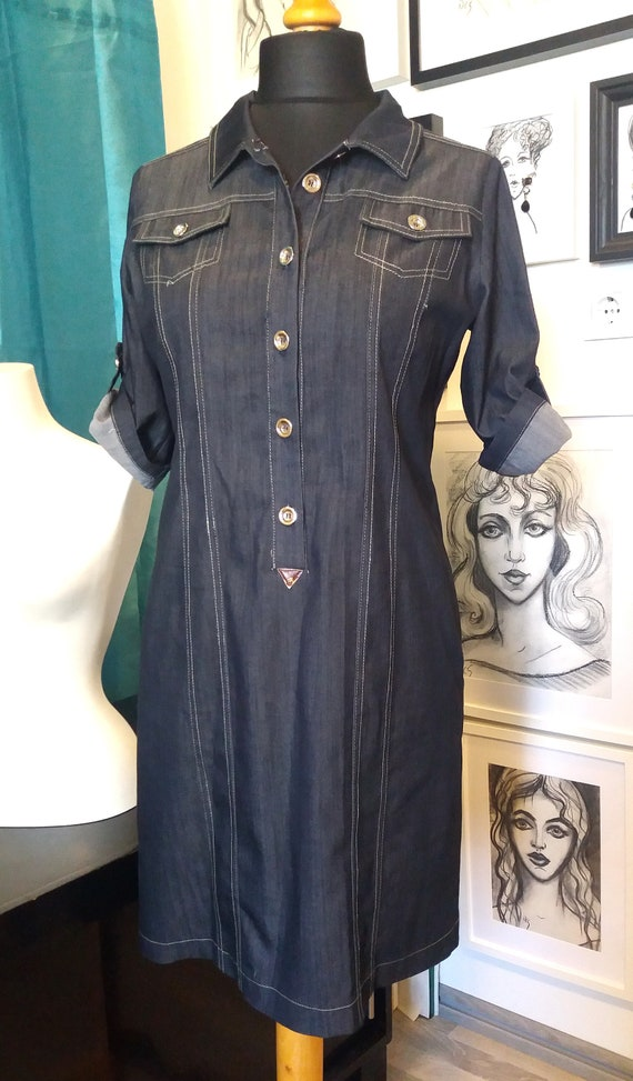 Mara Carol Designer woman dress/Retro denim like s