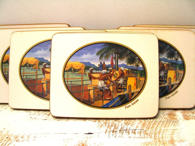 Vintage placematstraditional  placematcollectible placematsvintage coastersvintage coaster setpure assam tea padtea cup pad