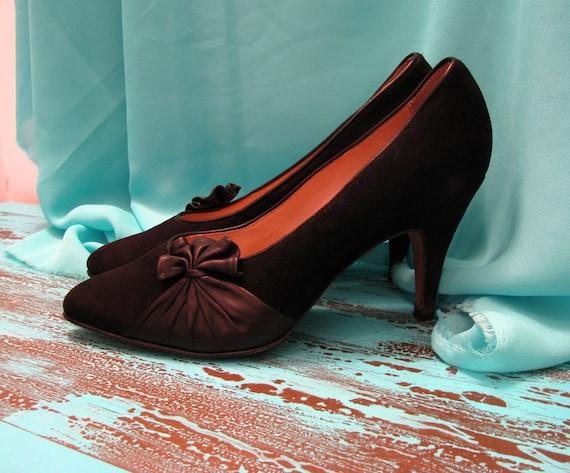 Vintage woman shoes/leather shoes vintage/ suede l