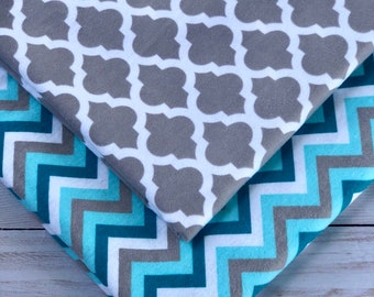 set of two grey and turquoise chevron receiving blanket, soft flannel blankets, baby shower gift
