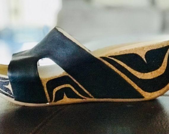 Haida Formline Custom Painted wedge heels size 10US