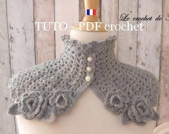 PDF CROCHET - Tour de cou de style Japonisant , orné de belles petites fleurs , Tuto en FRANCAIS !