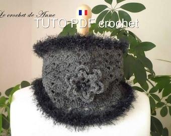 PDF CROCHET - Snood / Tour de cou , orné d'une fleur et de bordures fourrure , facile à réaliser , Tuto en FRANCAIS !