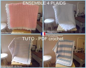 Ensemble 4 PDF CROCHET : Plaid blanc , Plaid aux rangs colorés , Plaids blanc et bleu , Couverture bébé rose , Tuto en Français !