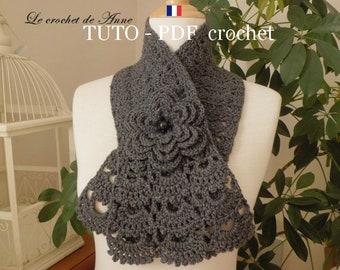 PDF CROCHET - Echarpe bordure dentelle , orné d'une fleur broche , facile à réaliser , Tuto en Français et en Anglais !