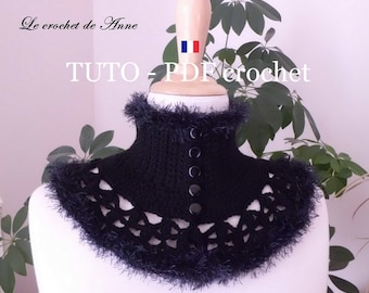 PDF CROCHET - Tour de cou de style Victorien orné de belles bordures fourrure , facile à réaliser , Tuto en Français et en Anglais !