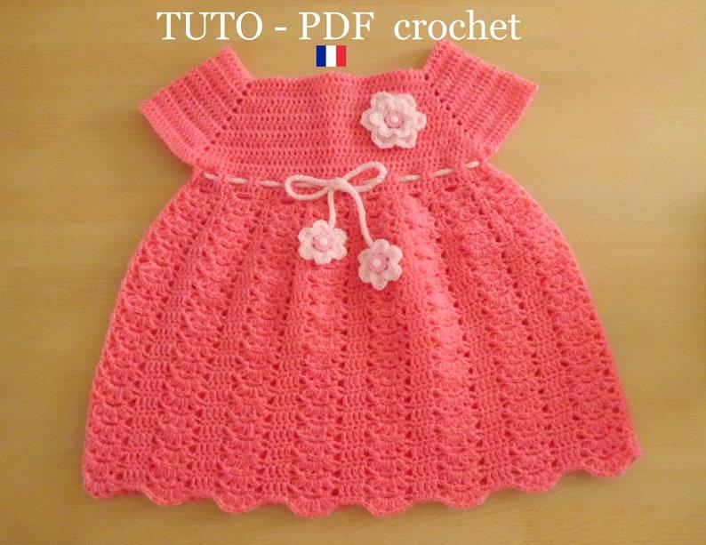 01ef51805e320 PDF CROCHET Robe bébé rose orné d un joli point