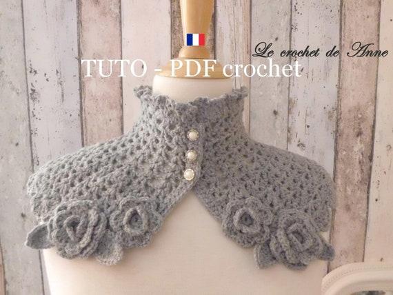 Pdf Crochet Tour De Cou De Style Japonisant Orné De Belles Petites Fleurs Tuto En Francais