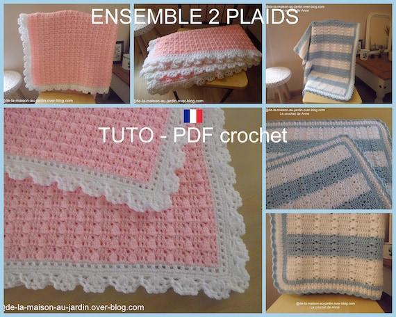Ensemble De 2 Pdf Crochet Couverture Bébé Rose Orné Dune Bordure Blanche Et Plaid Aux Rangs Bleus Et Blancs Tuto En Français