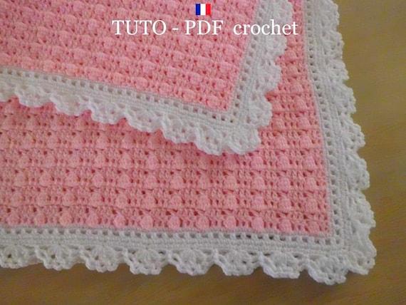 Pdf Crochet Couverture Bébé En Rose Orné Dune Belle Bordure Dentelle Blanche Facile à Réaliser Tuto En Francais