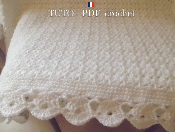 3f6c04f529e7 PDF CROCHET Plaid blanc aux jolis points fantaisies orné   Etsy