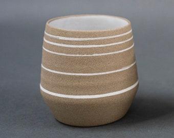 Angled Ceramic Tumbler (Pottery, cup, stoneware, handmade, coffee, tea, white, gold, brass)