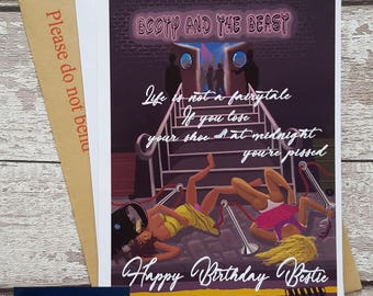 17 bestie birthday card funny joke drunk best friend papaerstorm