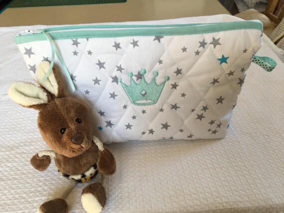 Trousse de rangement affaires de b b tissu matelass blanc etsy - Tissu matelasse pour bebe ...