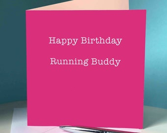 Happy Birthday Running Buddy (Pink) - Greetings Card for Runners / Running Friend