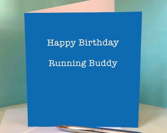 Happy Birthday Running Buddy (Blue) - Greetings Card for Runners / Running Friend