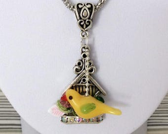Fantasy Canary necklace Lampwork birdhouse metal antique silver plated