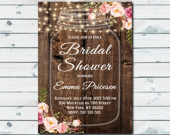 floral invitation floral mason jar bridal shower invitation rustic mason jar bridal shower invite rustic invitation 1051