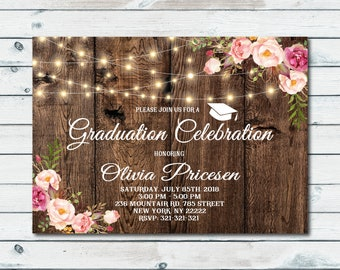 College graduation party invitations etsy graduation party invitation rustic graduation party graduation celebration college graduation party invitation class of 2018 1106 filmwisefo