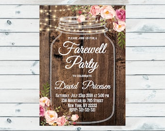 housewarming party invitation mason jar invites party ligts etsy