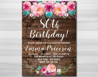 80th Birthday Invitation Floral Women Invitation80th Any Age Wood Invitation1005