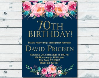 70th Birthday Invitation Women Floral Cheers To 70 Years Any Age Navy Invite 1002