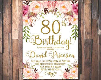 80th Birthday Invitation For Women Floral Party Womens Roses 1024