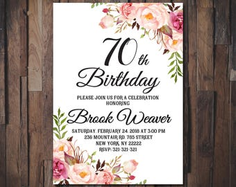 70th Birthday Invitation For Women Boho Floral Party Womens Printable 1087