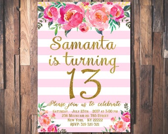 13th Birthday Invitation Teen Party Invite Floral Girls Pink And Gold Glitter Printable Digital 1084