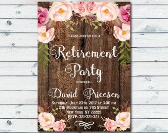 Rustic Retirement Invitation, Retirement Party Invitation, Floral Printable Invite, Boho chic invite, Retiring Surprise Invitation 1026