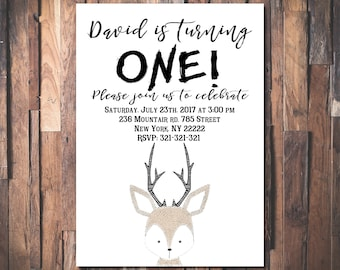 Deer Birthday Invitation, Deer Invitation, Little Deer Invitation, Woodland Birthday Invitation, Woodland Invitation 1055