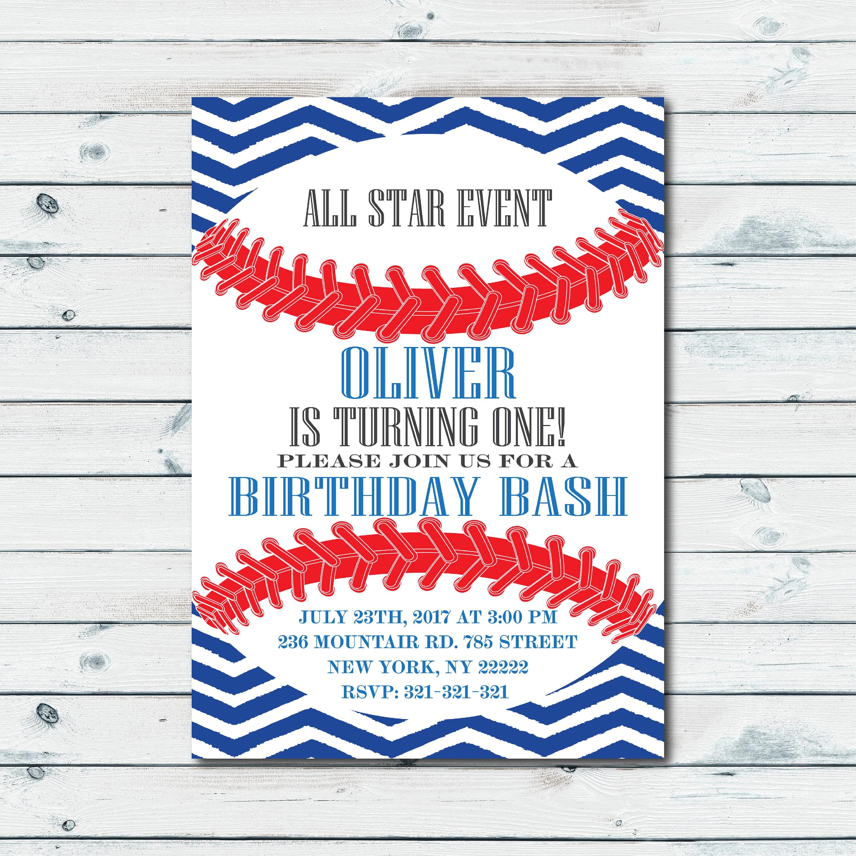 Baseball Birthday Invitation 1st Birthday Invitation Baseball | Etsy