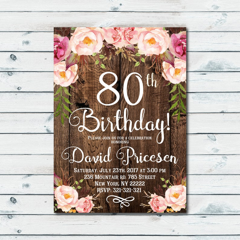 80th Birthday Invitation Floral White