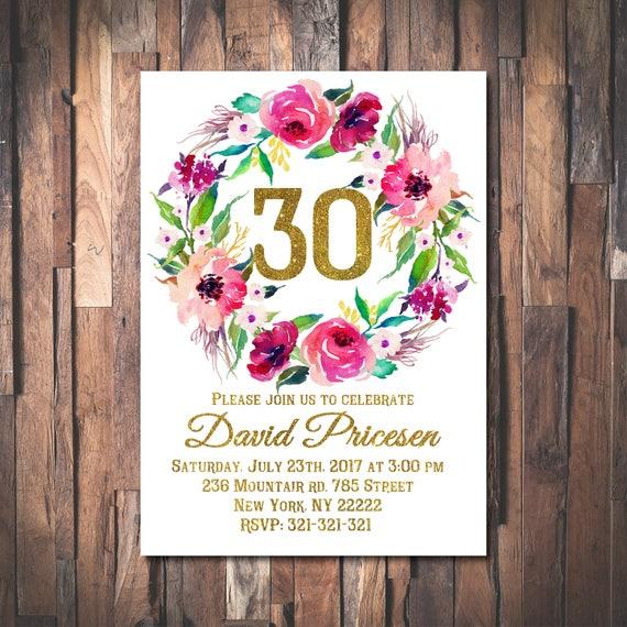 30 De Invitación De Cumpleaños Para Mujer Oro Brillo Saludos Etsy