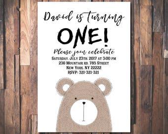 Bear First Birthday invitation, 1st Birthday Invitation, First Birthday party invitations, Cute Digital birthday invitation 1032