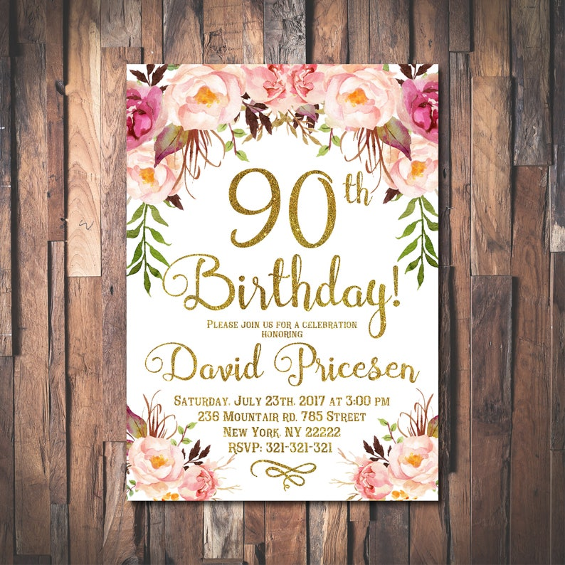 90th Birthday Invitation For Women