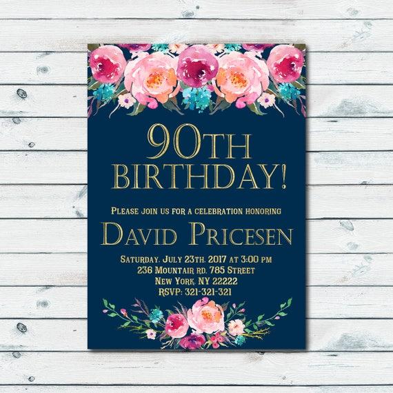 90th Birthday Invitations For Women Surprise