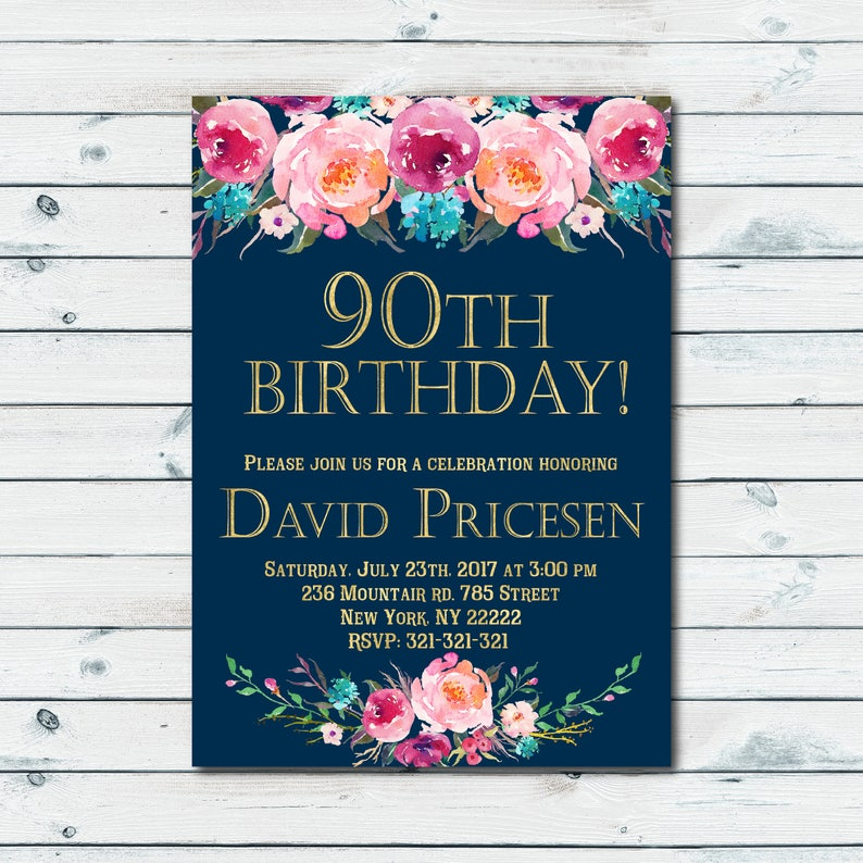 90th Birthday Invitations For Women Surprise