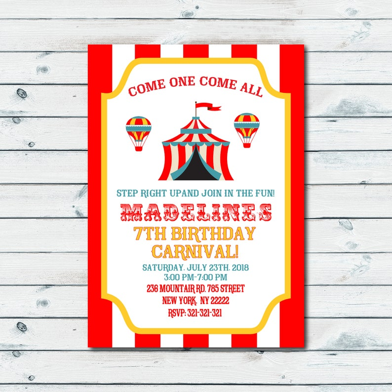 Vintage Carnival Invitation Birthday