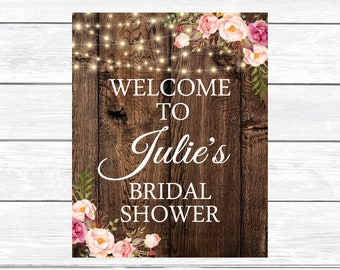 Floral Bridal Shower Welcome Sign Printable,Rustic Welcome Sign, Wedding Countdown Decor, Rustic Floral Mason Jar Welcome Poster 1119